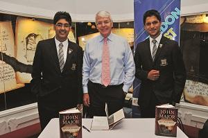 John Major with Rutlish boys